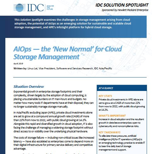 IDC Research - AI-Ops The new Normal for Cloud Storage Management